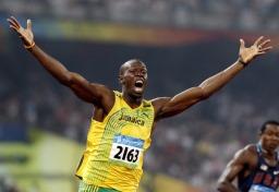 Titolare del record mondiale di 100 m, Usain Bolt immagine